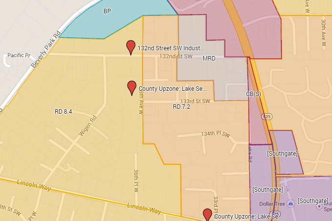 Section of proposed zoning map, created using Google My Maps