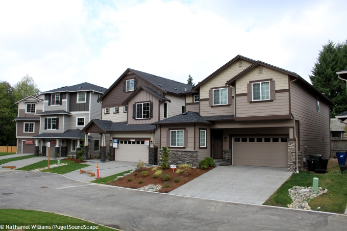 Two Houses With Tandem Car Garages At Left Traditional Right Meadowdale Vista Lynnwood Wa